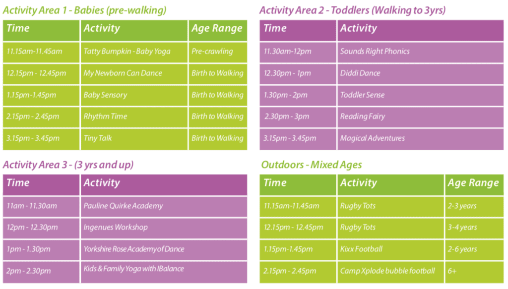 Activity day 2019 timetable