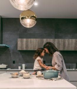 Home inside mum child kitchen