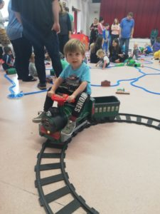 Enjoying the ride on train at Trainmaster York