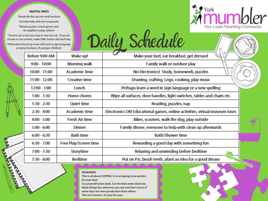 Daily Schedule For Kids During Home Schooling Time