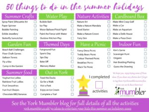 York Mumbler 50 things to do in the summer holidays