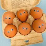 googly eyes on eggs