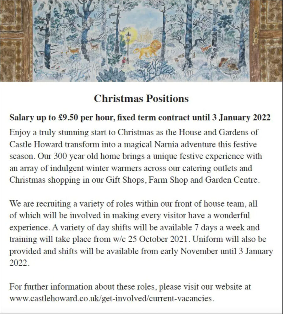 Castle Howard Christmas Positions Job PDF 2021